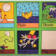 Fabric Wall-mounts For Kids (or canvas stretchers): Weather and Telling Time Themes