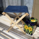 Folding Stool with Blue Canvas seat