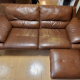 Give away sofa 3persons genuine leather brown with its ottoman